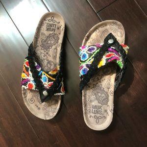 Muk Luks Colorful Embroiled Flip Flops